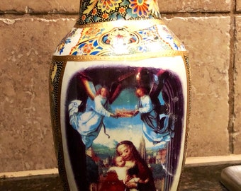 Vintage Hand painted Religious Vase with The Virgin Mary, Baby Jesus, and Angels