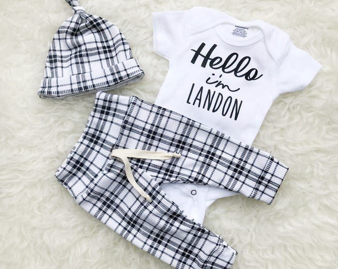 Featured listing image: Black & White Plaid 'Hello' Personalized Set