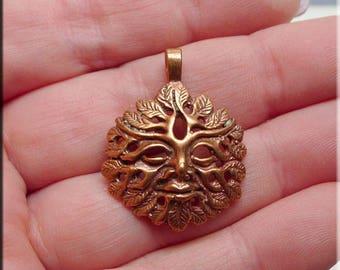 COPPER Greenman Pendant, Solid Copper Celtic Jewelry, Raw Copper Casting, Celtic-Pagan-Druid Pendant - CLEARANCE