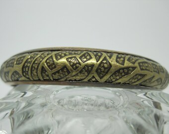 Vintage from the 1990's Geometric etched bronze/brass bangle bracelet.