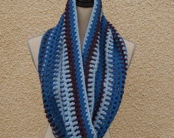Long purple and blue crocheted snood
