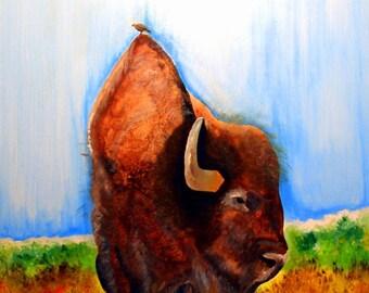 "Acylic Painting By C Rainwater ""The Buffalo Bird""   Original Painting ."