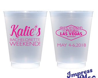 Custom Frosted Cups, Custom Monogrammed Cups Vegas Bachelorette Party Cup Girls Trip Custom Cup Custom Bachelorette Party Cups IM89