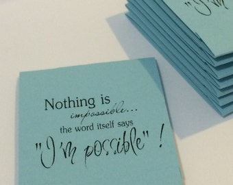 Nothing is IMpossible Inspirational Pastel Blue Set of 10 Matchbook Mini Notepad Notebooks