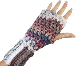 Purple and Blue Fingerless Gloves with individual finger holes