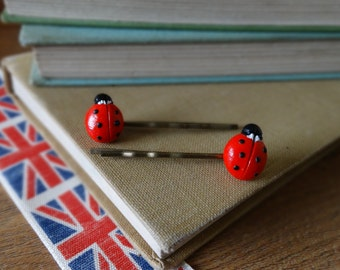 By the Shed Ladybird Lady Bug Red Black Hair Grips - Nature - Garden Wildlife - Gardening - Gift - Unique Present - Bobby Pins - Kirby Grips
