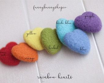 Felt rainbow heart - rainbow hearts - felting props - newborn photo props - rainbow props - newborn props - wool hearts -  rainbow hearts