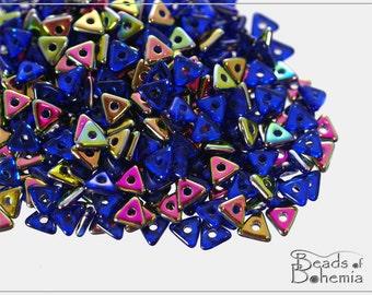 5 g Sapphire Vitrail Czech Tri-Beads 4x4x4 mm (8837)