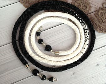 Black white necklace Long Seed Beaded  Lariat Transformer Necklace Statement Beadwork  necklace Gift for woman Gift for her