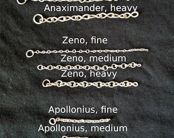Made to Order Chain Priced by the Inch, Three Styles