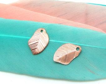 Set of 2 wavy leaf charms Rose Gold matte Metal - 10 mm