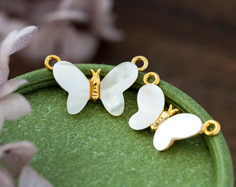 Vintage Connector Pendants Vintage Gold Mother Of Pearl Winged Butterfly Pendant Bead Charms 24x14mm
