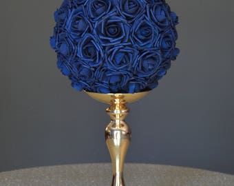 NAVY BLUE Flower Ball. Wedding CENTERPIECE. Navy Blue Wedding. Pomander. Kissing Ball. Flower Girl. Bridesmaid Bouquet.