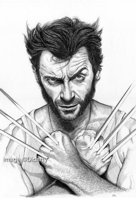 Wolverine hugh jackman portrait stampa - Wolverine dessin ...
