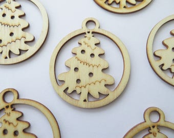 20 christmas tree wooden tags - lasercut - ideal as gift tags or small christmas decorations