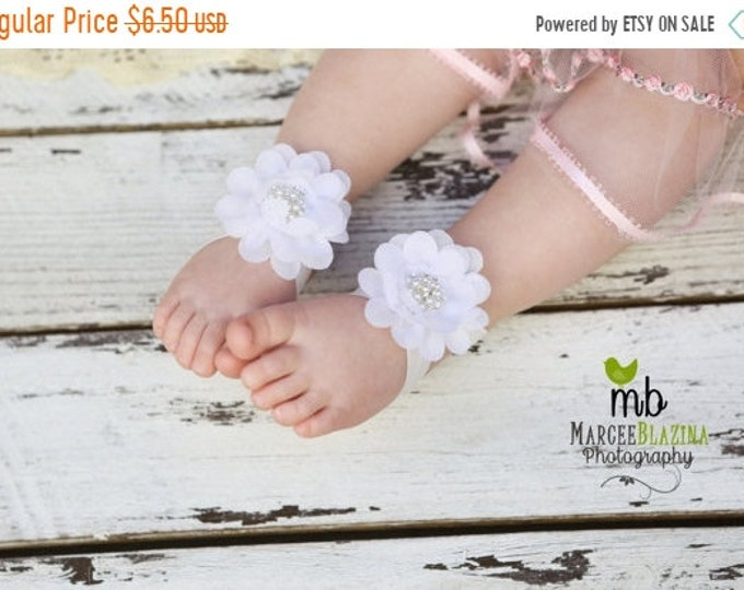 Featured listing image: ON SALE Barefoot Sandals ~ White Flower Sandals ~ Toddler Sandals ~ Newborn Sandals ~ Baby Flower Sandals ~ Flower girl sandals, Baby Sandal