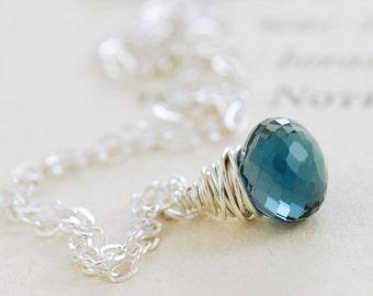 London Blue Topaz Necklace in Sterling Silver, December Birthstone Pendant Necklace, Blue Topaz Jewelry