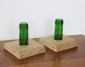 Candlesticks. One Pair Upcycled from Wine Bottles.