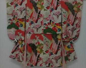 Vintage Haori Kimono Flamingo Birds Floral/ Silk Fabric/ Size S