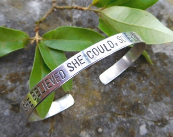 Silver Cuff bracelet - She believed she could so she did-  sterling silver metalwork - Cuff bracelet | hand stamped- quote bracelet |