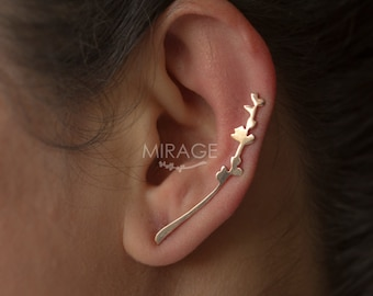 Statement Jewelry / Mood Jewelry / Long Spring Twig - Leaf Ear Cuffs  / Sterling Silver - Gold  Ear Cuffs  / Handcrafted With Saw