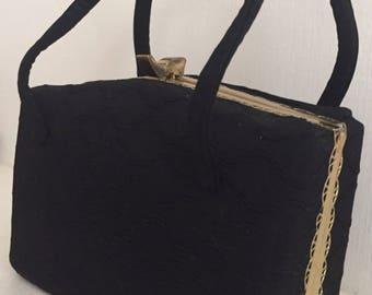 1930s Silk-covered Hardbody Evening Bag with Brass Trim
