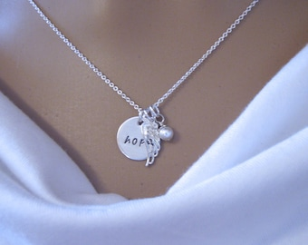 Hope necklace - Angel Wing necklace - Encouragement gift - Dainty Sterling silver necklace - Inspirational gift - Photo NOT actual size