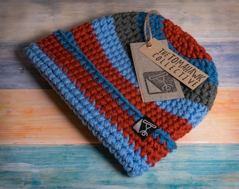 Handmade Striped Beanie from the Tomahawk Collective - Blue, Grey and Rust