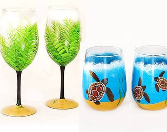 Beach Beverage Set - 4 EACH Palm Trees + 4 Sea Turtle Glasses - Housewarming Gifts Sober Celebrations Gifts Birthday Gift, Retirement Gifts