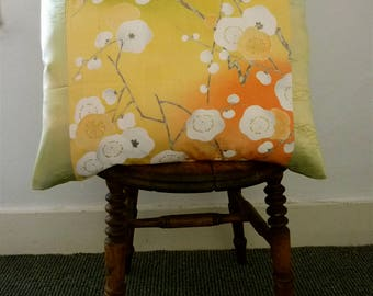 Yellow Gold Red White Green Floral Ume Plum Blossom Vintage Japanese  Silk Kimono Fabric Pillow Cushion Cover