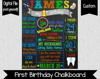 Art Themed First Birthday Chalkboard - Art - Crayons - Paint - Colorful First Birthday Chalkboard - Art Birthday Chalkboard - All About Me