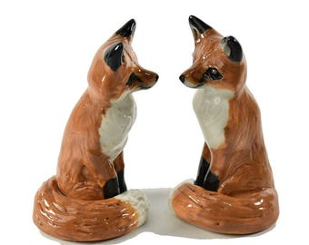 Red Fox Wedding cake topper  ceramic fox cake topper  Woodland wedding cake topper  bridal shower cake topper gift by Anita Reay souvenir