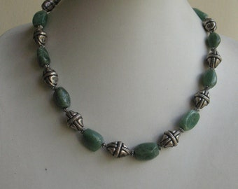 African Jade beads and silver handmade beads Necklace  - 40% Discount