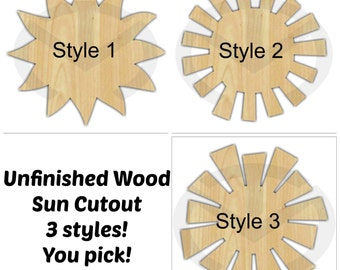 Sun - 01555- Unfinished Wood Laser Cutout, Door Hanger, Ready to Paint & Personalize, Wreath Accent, Various Shapes and Sizes