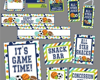 All Star Sports Birthday Party Package! Instant Digital Download. Sports, Balls, Basketball, Football, Soccer Printable Party Package.