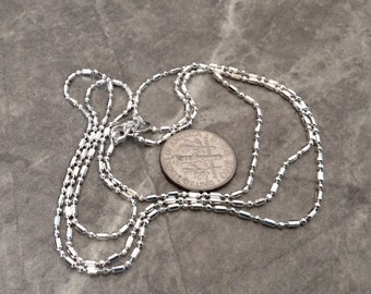 1 - 22 inch silver plated chain with alternating ball and cylinder beads, polished chain, lobster claw clasp-  FAST SHIPPING