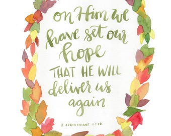 set our hope on Him 8x 10 Scripture Print