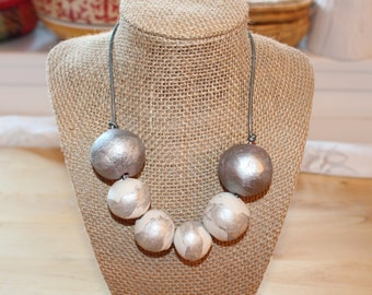 White silver necklace, Eco Friendly handmade clay beads