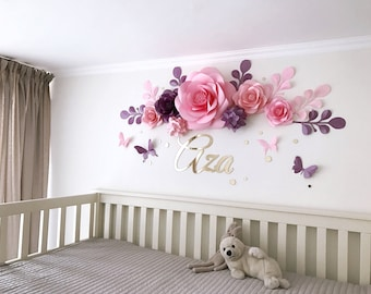 Nursery Paper Flowers   Paper Flowers Over The Crib   Baby Girl Room Paper  Flowers