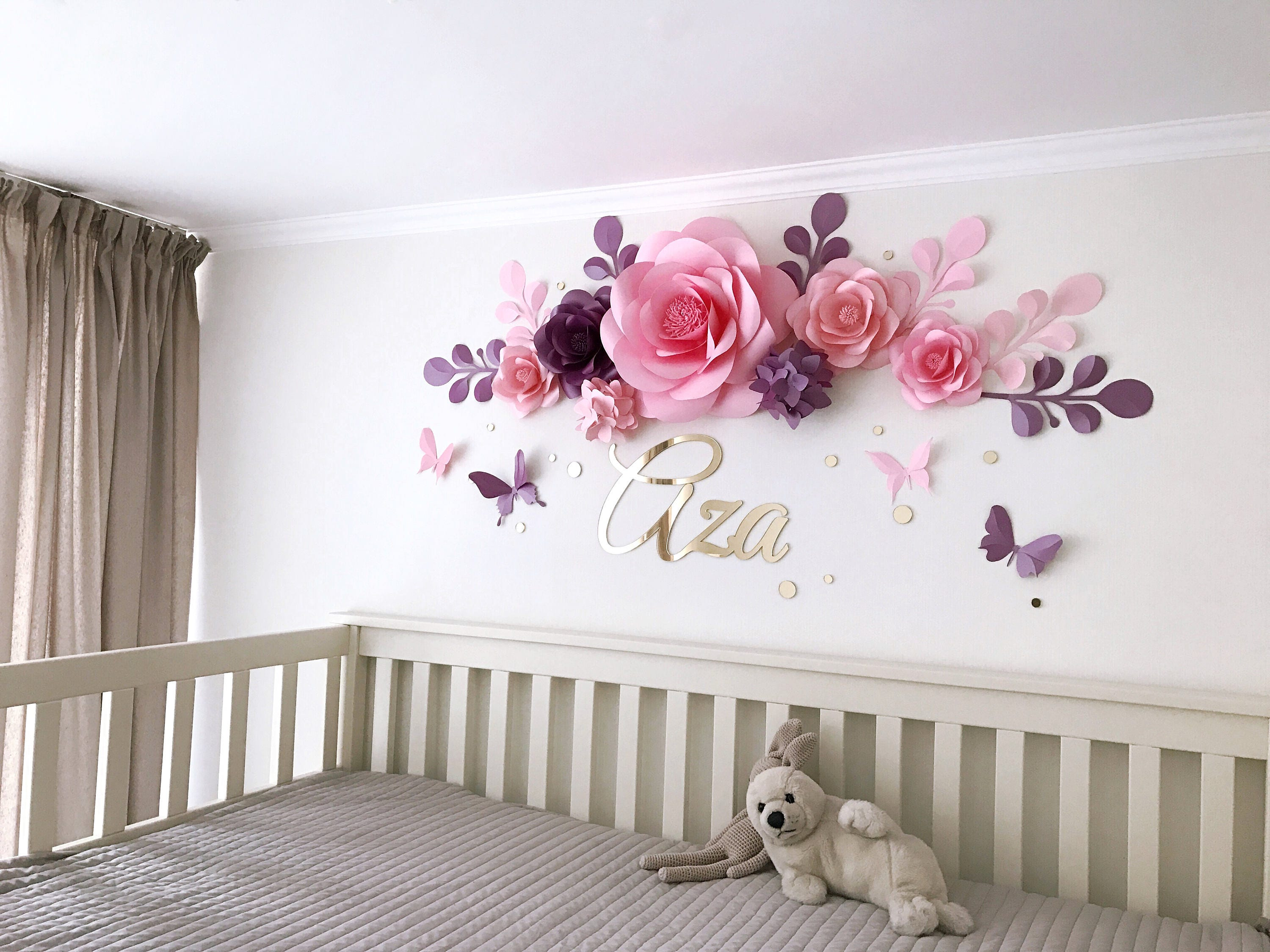 nursery paper flowers paper flowers over the crib baby. Black Bedroom Furniture Sets. Home Design Ideas