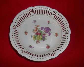 "One (1), 9 1/4"" Porcelain, Pierced Rim Bowl, Marked; Germany US Zone 5, Floral Pattern."