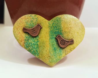 Bird Heart Pin Brooch, Heart Jewelry with Copper Birds, Green Yellow Stripes, Everyday Jewelry