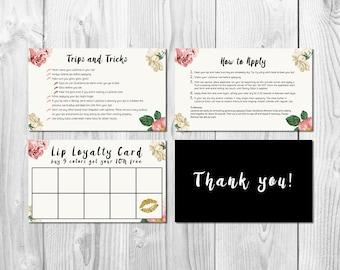 "LipSense 3"" x 5"" Printable Card Pack, LipSense Tips and Tricks, LipSense How to Apply, LipSense Punch Card, Thank You"