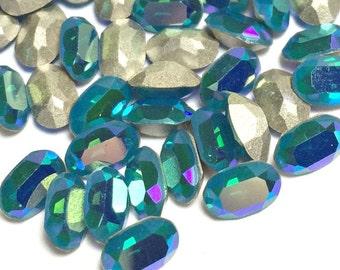 Swarovski 6x4 Oval Rhinestones Caribbean Blue Opal Art # 4120 Qty 6, Jewelry Repair Rhinestone