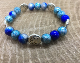 Blue Beaded Bracelet with Paw Charms
