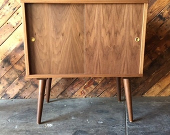 Mid Century Style Custom Walnut Record Bar Cabinet