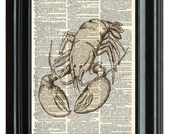 Upcycled antique dictionary art print, VINTAGE DICTIONARY PRINT, dictionary page, lobster Vintage Print, Marine Ocean, 8.25x11.25 num. 13