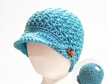 Crochet Pattern Beanie Slouchy Messy Bun Hat Bean Town PDF 16-288