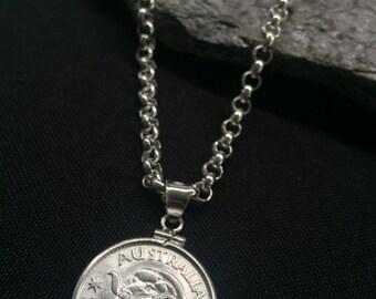 Australian Shilling Bracelet - Sterling Silver .925 Bezel Complete with either Sterling Silver 21cm Belcher or Figaro Chain