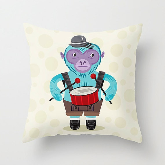 "The Monkey Drummer - Cushion Cover / Throw Pillow (16"" x 16"") by Oliver Lake"